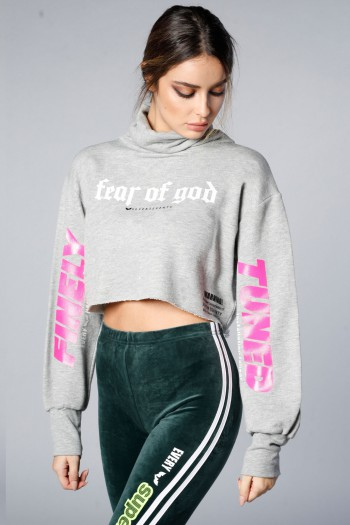 Long Sleeve Gray Turtle Neck Crop Top TUNED