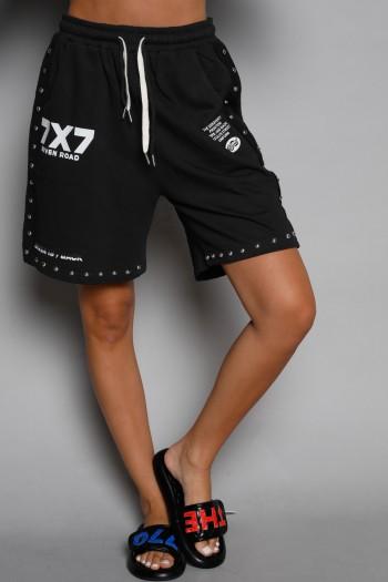 Black Pullover Bermuda Pants SEVEN ROAD
