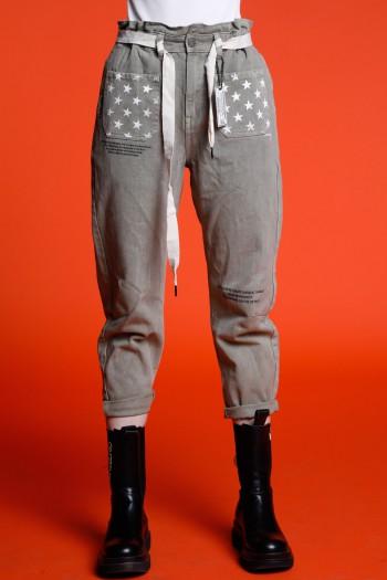 Designed Olive Green Denim Pants ATTITUDE
