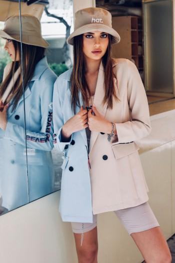 Light Blue And Beige Long Sleeve Blazer Jacket BACK