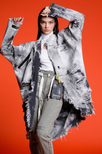 washed Gray Oversize Denim Opened Long Sleeve Jacket LIVE