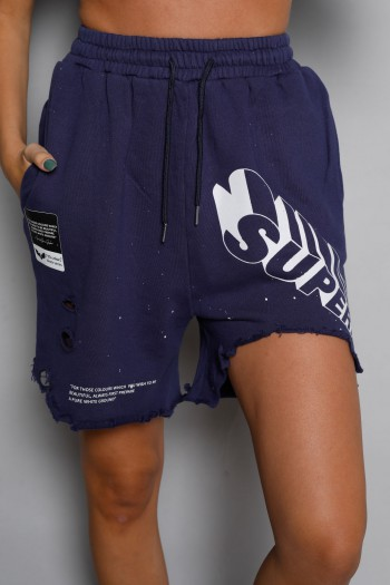 Blue Destroyed  Pullover  Bermuda Pants SUPER