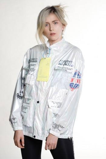 Pearl White Wind Breaker-Jacket HAND MADE