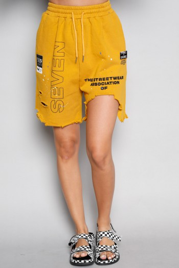 Mustard Destroyed  Pullover  Bermuda Pants SUPER