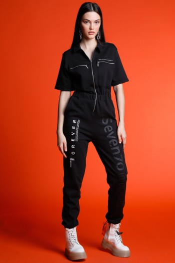 Black Short Sleeve Long Overall FOREVER
