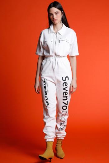 White Short Sleeve Long Overall FOREVER