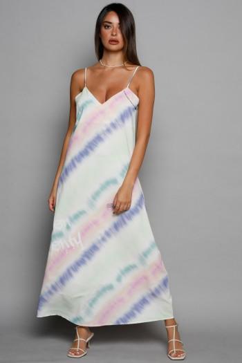 Colorful Tie Dye Evening Satin Midi Dress CHARM