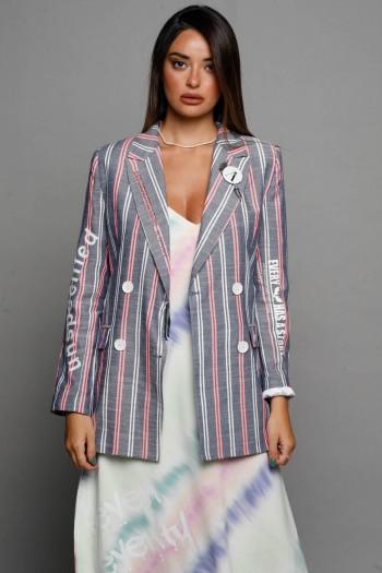 White And Pink Stripe Gray Long Sleeve Blazer Jacket STORY