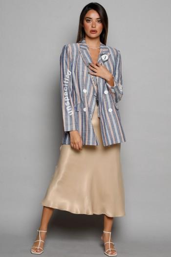 White And Orange Stripe Gray Long Sleeve Blazer Jacket STORY
