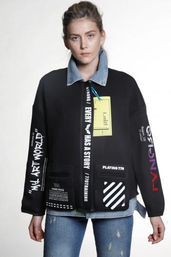 Black and Denim Jacket WORLD