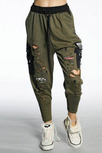 Baggy Olive Green Destroyed Jogger Pants ATTITUDE