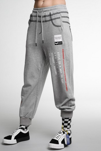 Gray  Designed Pullover Jogger Pants  STYLE