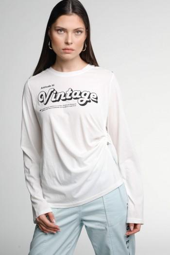 White Designed Long Sleeve T Shirt VINTAGE