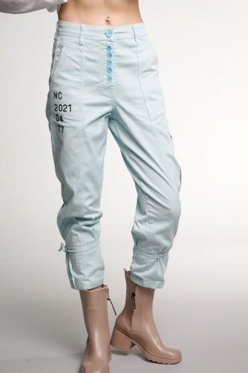 Designed Light Blue Denim & Lycra  Pants SOMETIMES