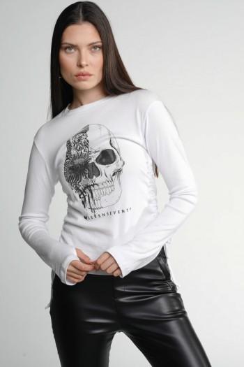 White Designed Long Sleeve T Shirt SKULL
