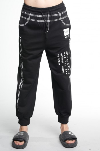 Black Designed Pullover Jogger Pants  STYLE