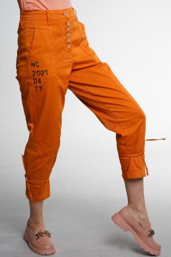 Designed Orange Denim & Lycra  Pants SOMETIMES