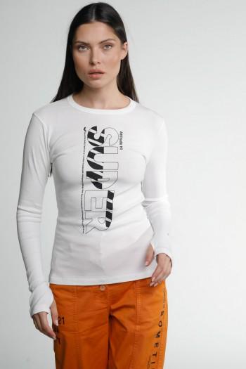 White Designed Long Sleeve T Shirt SUPER
