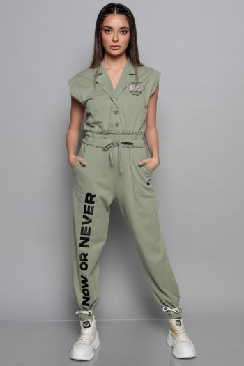 Olive Green Short Sleeve Pullover Overall NO 7