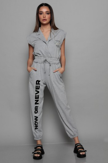 Grey Short Sleeve Pullover Overall NO 7