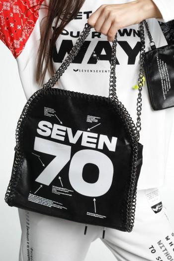 Black  Designed Faux Leather Side Bag  SEVEN