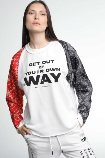 Long Sleeve White Pullover Bandana Sleeves  Top WAY
