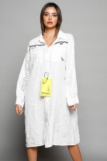 White Midi Linen Dress MAIN STREAM