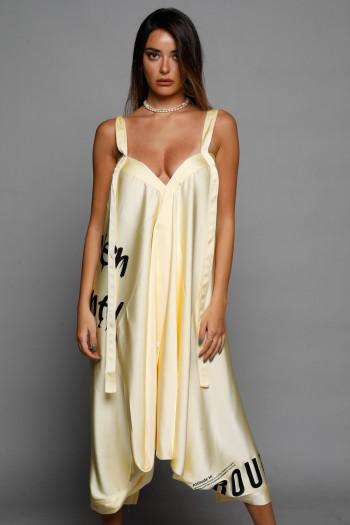 Yellow Satin Midi Dress SEVEN