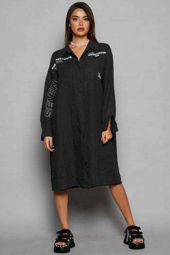 Black Midi Linen Dress MAIN STREAM