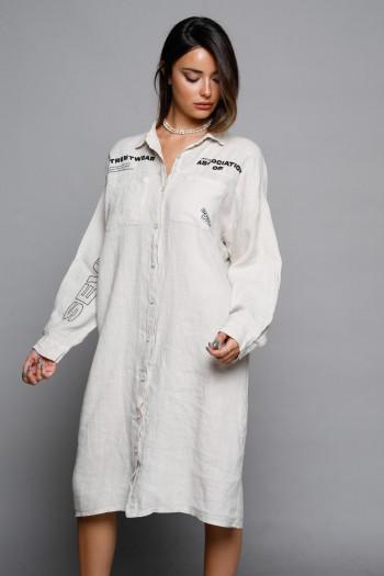 Beige Midi Linen Dress MAIN STREAM