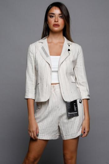 Beige With Golden Stripe Beige 2/3 Sleeve Blazer Jacket PRODUCTION
