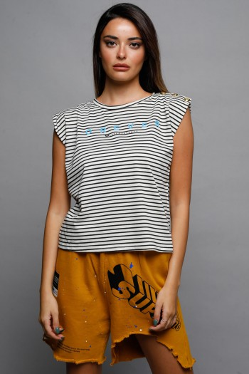 White Top With Black Stripes Sleeveless Top FOREVER