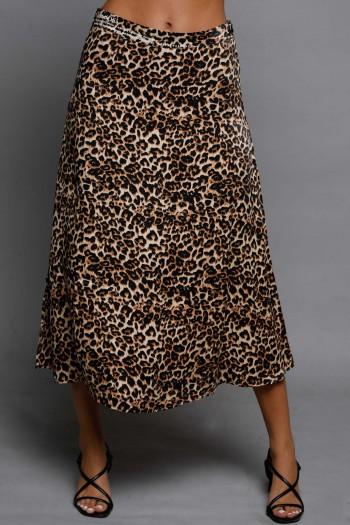 Leopard Midi Satin Skirt SEVEN