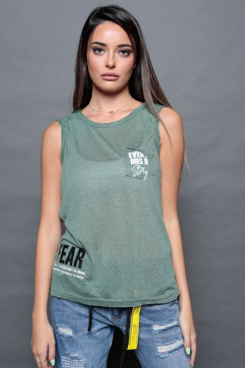 Olive Green Sleeveless Top FEAR