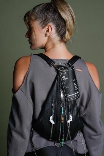 Black Handmade Unique Back Pack NEW