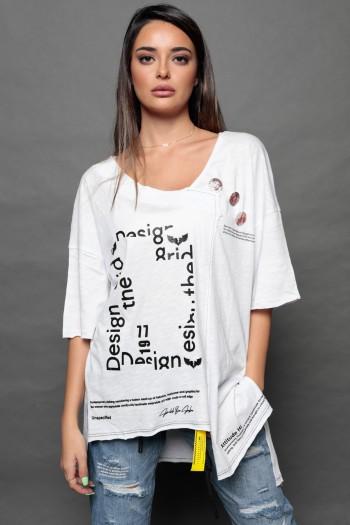 Asymmetric Designed White T- Shirt DESIGN