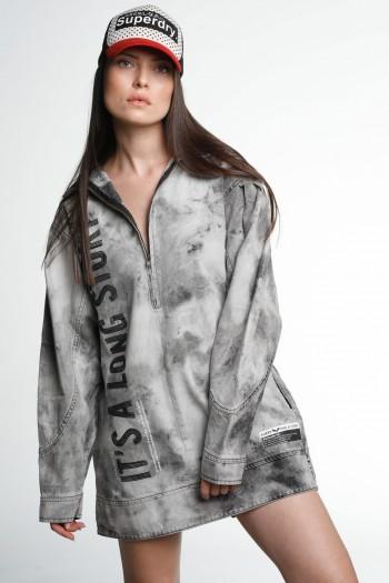 Light Grey Colors denim Tunic  Dress STORY