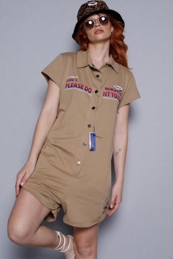 Brown Short Pullover  Overall PLEASE