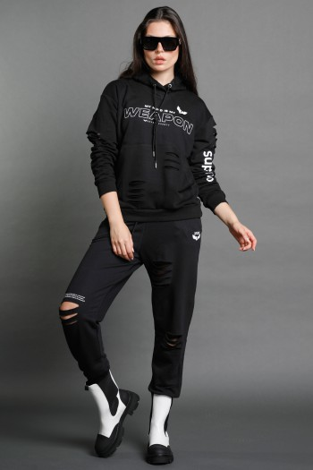 Black Two Piece pullover Set WEAPON