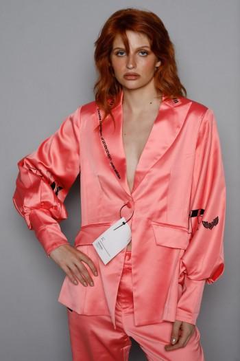 Peach Color Elegant Satin Blazer Jacket QUEEN