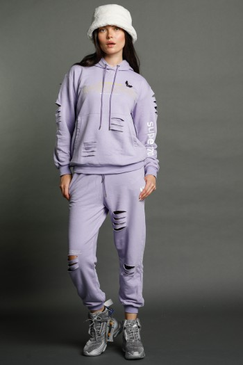 Light Purple Two Piece pullover Set WEAPON