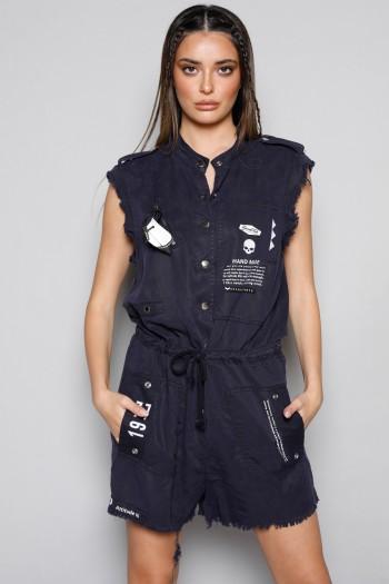 Dark Blue Short Designed Overall HANDMADE