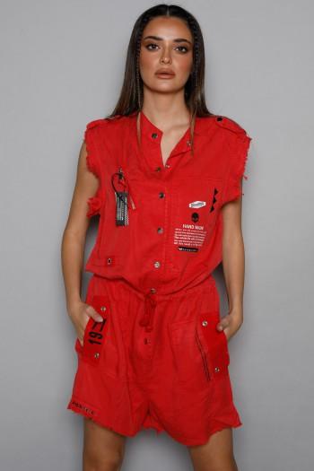 Red Short Designed Overall HANDMADE