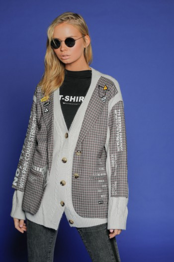 Gray Blazer Jacket Combined with Knit  PARKWAY