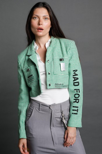 Green and White Pepita Blazer Jacket  BELIEVE