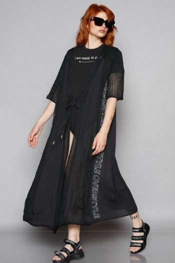 Black  Top Long Opened Jacket OVER STYLE