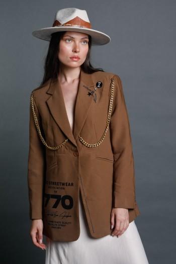 Brown Chains Blazer Jacket STREETWEAR