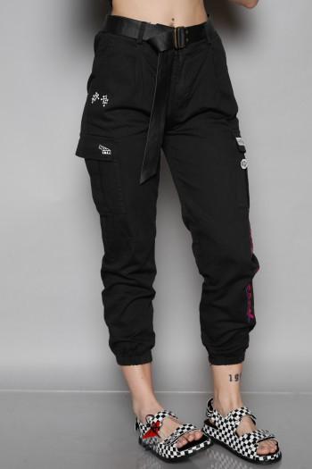 Designed Black Cargo Style Pants BACK