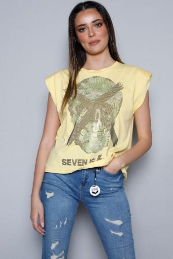 Yellow Sleeveless Top SKULL