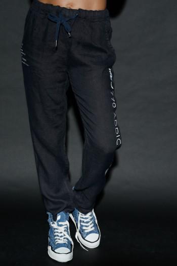 Designed Black Washed Linen Pants ADDICTED